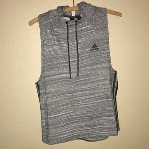 Adidas racer back sleeveless hooded active top!